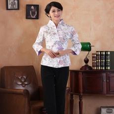 中式酒店唐装工作服上衣 女士织锦缎长袖工作服