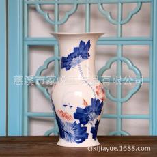 手绘青花荷韵插花花器创意敞口陶瓷花瓶 景德镇瓷器工艺礼品