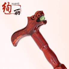 厂家供应花草图案木质拐杖老人 红木老人拐杖定做 精细木制工艺品