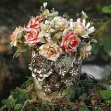 新款陶瓷工艺品家居软装干花水培花器荷叶边摆件原创手工国潮风