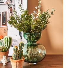 北欧简约绿色玻璃花瓶 批发 客厅餐厅样板间家居软装饰品插花摆饰