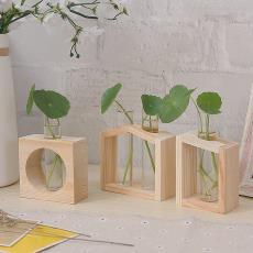 ins木质北欧风绿植花器小口径玻璃透明水培花瓶装饰桌面小号摆件