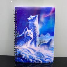 3d立体效果封面 雪狼创意个性3D线圈笔记本A5办公记事本文具用品