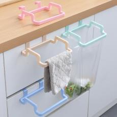 橱柜门可挂式垃圾袋收纳抹布悬挂架 厨房多功能免钉无痕支架
