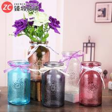 供应工艺花瓶客厅装饰插花器欧式透明摆件彩色创意水培玻璃花瓶