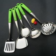 绿色柄套装 厂家直销厨具 汤勺 小商品市场批发家用不锈钢炒菜铲