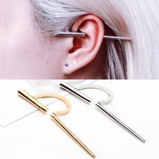 简约百搭穿刺耳环 欧美外贸耳饰品 复古c形一字耳夹无耳洞耳骨夹