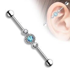 欧美爆款不锈钢带钻长耳骨钉 Barbell穿刺饰品 耳钉Industrial