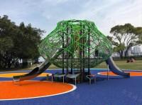 儿童户外拓展攀爬网 公园不锈钢滑梯体能闯关训练儿童木质滑梯