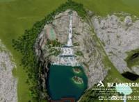 汤山假山瀑布完工前试水?