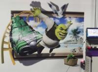 文化墙彩绘机 新农村文化墙打印机 校园卡通图案墙体打印机