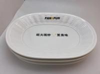 上海壹粵密胺餐具盤子,自助餐餐具定制,自助餐白色橢圓盤子廠家