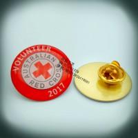 紅十字會彩色印刷徽章、愛心宣傳印刷襟章、LOGO漸變色胸針