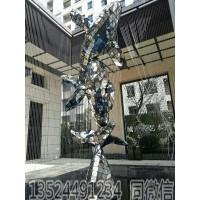 海洋生物不锈钢水景鱼跃雕塑 抽象镜面鲨鱼摆件
