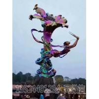 電鍍大型仙女人物擺件 不銹鋼喇叭花雕塑