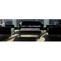 雅驼现代简约办公沙发商务接待会客洽谈牛皮办公室沙发茶几组合