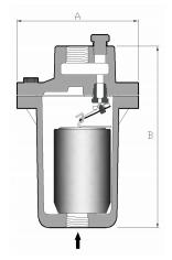 台湾DSC铸铁倒筒式蒸汽疏水阀41结构尺寸