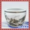 手绘陶瓷风水缸 大件高脚缸 青花陶瓷金鱼缸